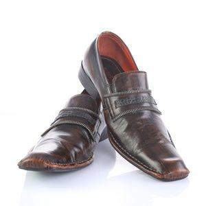 Robert Wayne Martini Brown Leather Dress Loafers